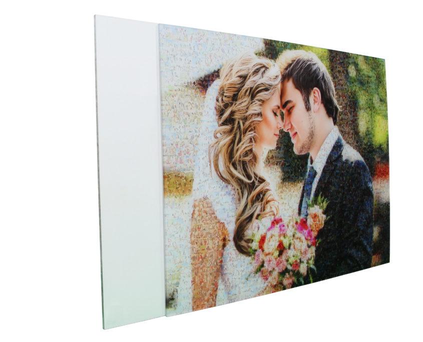 Brautpaar als Teilmosaik auf Acrylglas