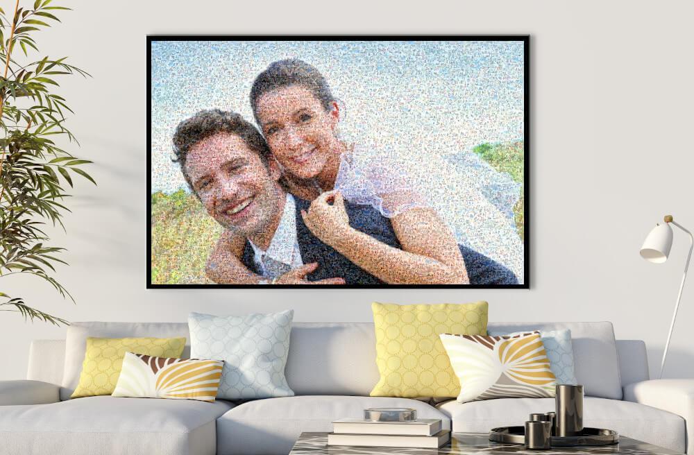 Fotomosaik Hochzeit im Wohnzimmer