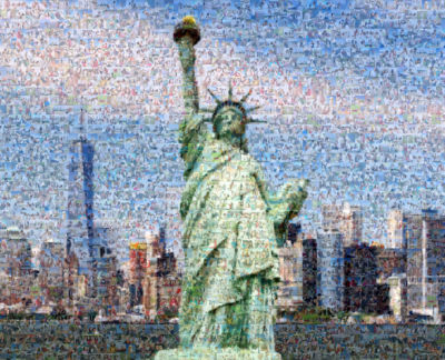 image of statue of liberty created of other images