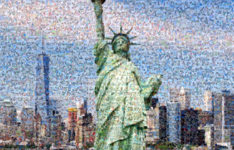 Photo mosaic statue of liberty
