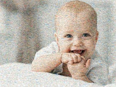 cute photo mosaic of baby