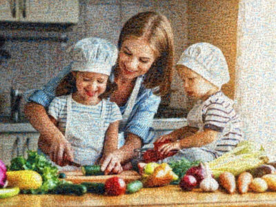 photo mosaic of mother with children in kitchen