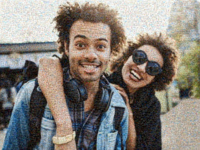 photo mosaic of couple