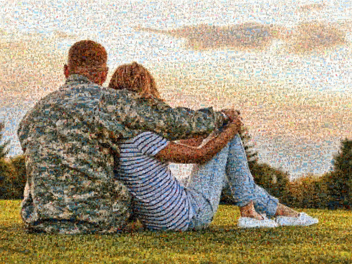photo mosaic of couple before sunset