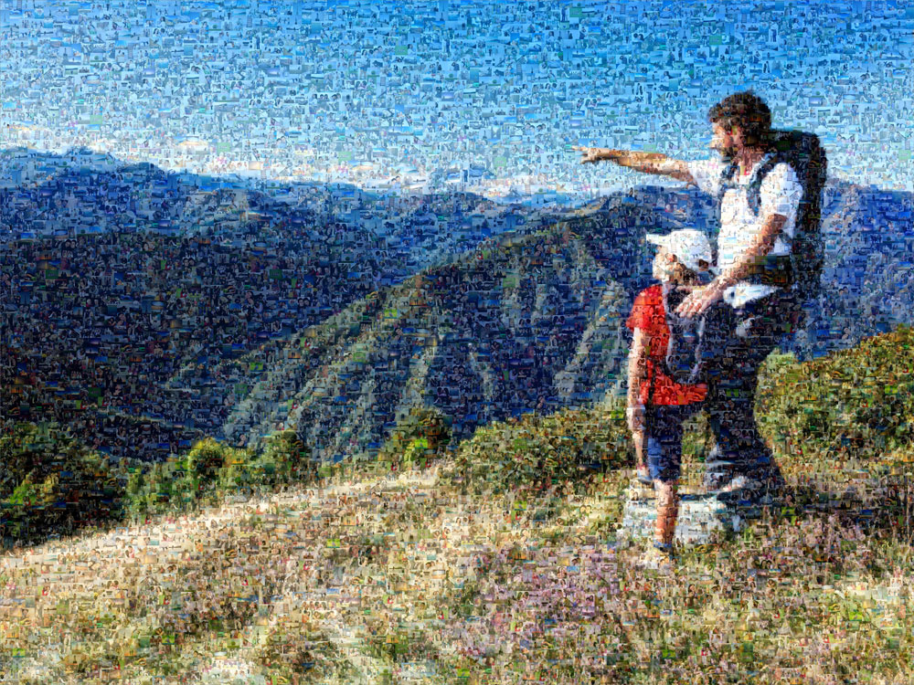 picture mosaic dad with daughter on mountain top