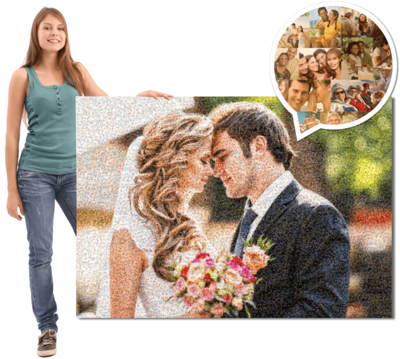 hand over photo mosaic as wedding gift